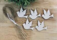wooden hanging Bird Dove Decoration Rustic Nordic White 5x Birds xmas wedding