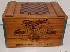 Vintage Miller High Life Wooden Crate & Checkers Game Board Nice Condion!