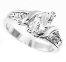 Ladies 10x5 mm 1 karat Marquise CZ Silver Rhodium Plated Ring Size 8