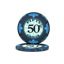100 Blue 50¢ Cent Scroll 10g Ceramic Casino Poker Chips New - Buy 4, Get 1 Free