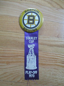 1970 BOSTON BRUINS Stanley Cup Play-Off Button w Ribbon BOBBY ORR PHIL ESPOSITO