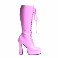 Ellie EASY Pink 5 inch Heel Platform Knee Boots W/Zipper