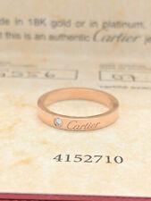 Authentic Cartier C De Cartier Diamond Wedding Band Ring 18k Pink Gold size 54