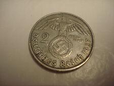 RARE, VINTAGE, 1937-A WW-2 ERA SILVER  GERMAN 2 REICHSMARK  COIN, #A-28