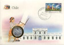 superbe enveloppe CHILIE CHILE pièce monnaie 1 centavo 1975 NEUF NEW UNC timbre