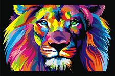 CANVAS Banksy Street Art Print RAINBOW LION PAINTING 90cm x 60cm