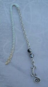 Tibetan Silver Bookmark - Lizard & Glass Beads. Gecko Reptile. GIFT.