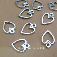 100pc Tibetan Silver Charms Peach heart Pendant Beads Accessories PL817