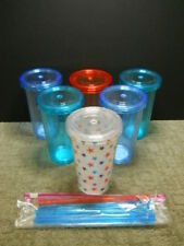 Double Wall Acrylic Tumblers Cups Glasses W/ Lid and Straw X 6 - 16.3 To 17.5 Oz