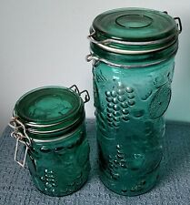 Vintage ~ 2 Green Fruit Embossed GLASS STORAGE JARS With LIDS ~ Wire Bail  Seals