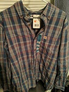 Carhartt Men's Large Long Sleeve Relaxed Fit Plaid Pocket Shirt NWT