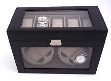 Bey-Berk  Black Leather 4-Watch Winder & 5-Watch Case