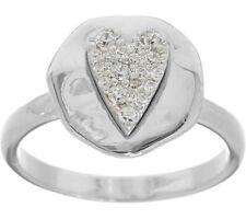 DIAMONIQUE STERLING SILVER HEART ORGANIC POLISHED RING SIZE 10 QVC