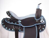 "USED 16"" LIGHT WEIGHT BLUE SYNTHETIC WESTERN PLEASURE TRAIL HORSE SADDLE"