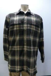 New LL BEAN brn pld long sleeve button up flannel warm Shirt mens LT Large Tall