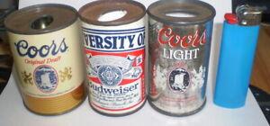 3 Vintage mini  beer can lighter holders   -  Coors, Coors Lite & Budweiser