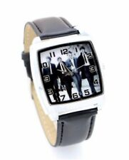 Beatles Leather Strap Wristwatch Black Wrist Watch Music Rock Square Kids Adults