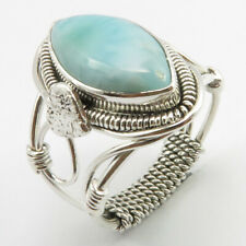 Size 8.5 Ring, 925 Solid Silver Natural LARIMAR Rosenmontag Gifts