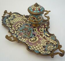 French Cloisonne Enamelled Brass Inkwell and Ink Blotter