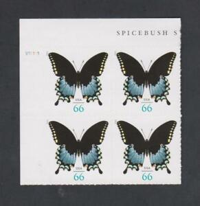 2013 US Spicebush Swallowtail 66 Cent Stamps Plate Block PB Scott 4736
