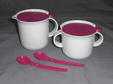 Tupperware classic sugar and creamer set with spoons white pink NEW