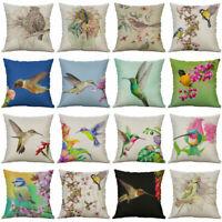 """18"""" Cushion Cover Cotton Linen Pillow Bird Decor Case Home Throw Pattern"""