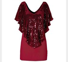 Red Sequinned Evening Party Top Blouse Sequin Glitter Ladies Fashion Size 8