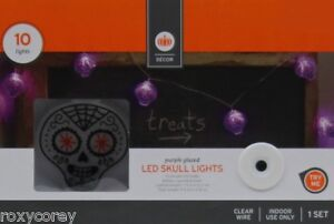 Halloween 7 ft 10 Purple Gazed LED Skull Garland Lights Clear Wire Indoor Use