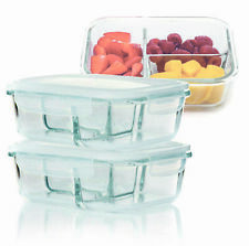 2pc Airtight Glass Storage Food Containers With Clip Lids Divided Tupperware