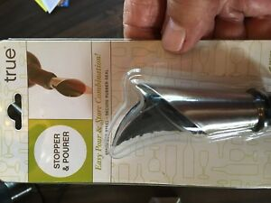True Fabrications Wine Stopper & Pourer SS & Rubber NEW
