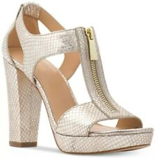 New MICHAEL Kors Berkley T-Strap Platform Dress Sandals zipper closure Champagne