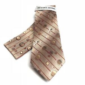 Stacy Adams Men's Tie Hanky Set Brown Khaki Rust 100% Microfiber Hand Made
