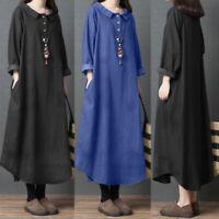 ZANZEA Women Oversize Long Sleeve Casual Loose Kaftan Baggy Maxi Dress Plus Size