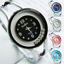 New Bangle Crystal Women Stainless Steel Quartz Analog Dial Wrist Watch Bracelet