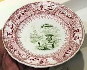 "Antique Staffordshire Red + Green Transfer Cup Plate, ""CANOVA"" Pattern, T. Mayer"