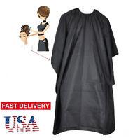 Black Hairdressing Gown Cape Hair Cut Salon Barber Nylon Cloth Wrap Protect VXUS
