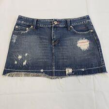American Eagle Denim Mini Skirt Size 6 Distressed Embellished