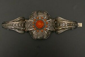 RARE antique old CHINESE filigree Art Deco Silver bracelet carved CORAL Lotus