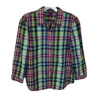 Chaps Womens Blouse Shirt Size M Multicolor Plaid 3/4 Sleeve Button Down Cotton