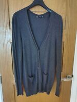 Zara Grey Long Line Cardigan Size 14