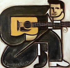 Tommervik Abstract Johnny Cash Acoustic Guitar Art Guitarist Musician Painting