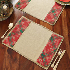 WHITTON Placemat Set of 6 Burlap Red/Green Primitive Rustic Plaid 12x18 VHC