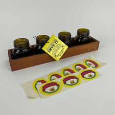 More details for herb planter set wooden tray by marmite novelty gift pot stickers retro design