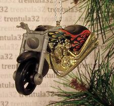 FATBOY MOTORCYCLE BLACK W FLAMES CHOPPER CHRISTMAS TREE ORNAMENT XMAS