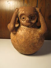 "ANTIQUE PRE-COLUMBIAN FIGURAL POTTERY VESSEL "" THE SCREAM "" ATTRIBUTED PERU"