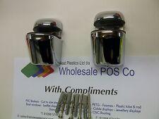 CHROME ADJUSTABLE SHELF FIXING BRACKETS FOR ACRYLIC WOOD OR GLASS SHELVES x 2