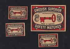 Ancienne   étiquette allumette  Suède BN4402 Clef 2