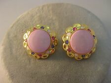 Estate Costume Joan Rivers Pink Enamel Rhinestone Button Pierced Earrings