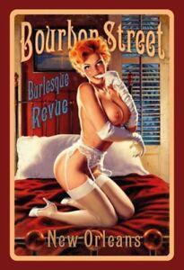 Bourbon Street New Orleans Pin Up Girl Schild gewölbt Tin Sign 20 x 30 cm FA0128
