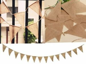 Hessian Fabric Bunting Vintage Wedding Baby Shower Shabby Chic Party Decoration